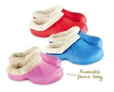 Girls Boys Kids Removable Fleece Lined Clogs Sizes 8-13 Pink Red Blue
