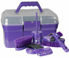 PFIFF Full Horse Pony Grooming Kit/Box Brush/Comb/Hoof Pick - Magical Stars