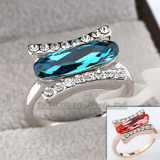 Fashion Simulated Ruby Sapphire Ring 18KGP Crystal Size 5.5-8