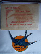 VINTAGE BLUE BIRD TOFFEE WINDOW STICKER FOR CONFECTIONERS SHOP WINDOW