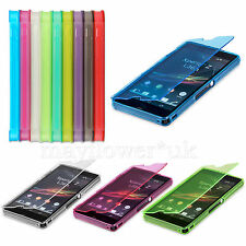 WALLET FLIP TPU SILICONE GEL CASE COVER FOR VARIOUS SONY XPERIA PHONES + SCREEN