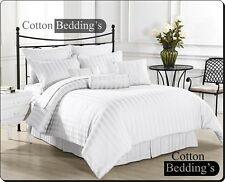 800 1000 1200 TC 100% Egyptian Cotton US Size Bedding Collection in White Stripe
