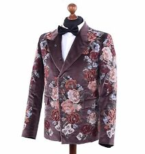 DOLCE & GABBANA RUNWAY Baroque Velour Floral Embroidery Blazer Jacket Brown 0393