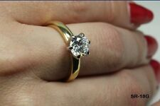 AAA CLEAR ROUND SOLITAIRE 10K GOLD PLATED 925 STERLING SILVER ENGAGEMENT RING