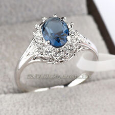 Fashion Simulated Sapphire Ring 18KGP Use Crystal Size 5.5-9