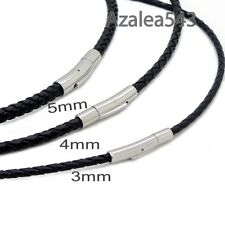 3/4/5mm Black Braided Genuine Leather Cord Stainless Steel Secure Clasp Necklace