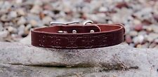 "DARK BROWN 1"" INCH WIDE LEATHER DOG COLLAR FREE CUSTOM PERSONAL NAME STAMPED"