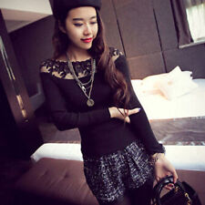 Trendy Lady Off Shoulder Shirts Lace Blouse Long Sleeve Slim Knitwear Top Blouse