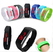 Men Womens New Fashion Silicone Red LED Sport Bracelet Touch Digital Wrist Watch