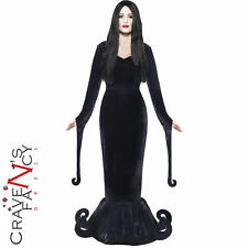 Ladies Morticia Duchess Witch Manor Costume Adult Halloween Fancy Dress UK 8-18
