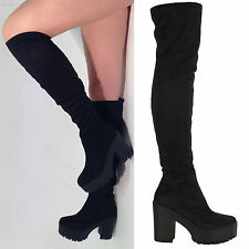 LADIES WOMENS STRETCH OVER THE KNEE THIGH HIGH CHUNKY PLATFORM HEEL BOOTS SIZE