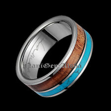 Hawaiian Jewelry Wedding Band Ring Titanium 2 Row Turquoise & Koa Wood Inlay 8mm
