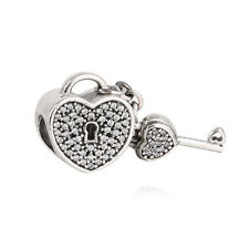 Lock of Love Heart Sterling Silver Clear CZ Bead Charm