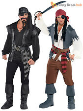 Mens Caribbean Pirate Captain Costume Adult Fancy Dress Steampunk Halloween
