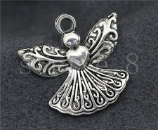 10/40/200pcs Tibetan Silver exquisite Heart-shaped Angel Charms Pendant 23x21mm