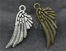 10/40/200pcs Antique Silver/Bronze bird wings Jewelry Charms Pendant 29x11mm