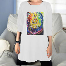 GIFTNINE Womens Tunic Long Sleeves T-Shirt Art Print Loose Fit Over Size Top NEW