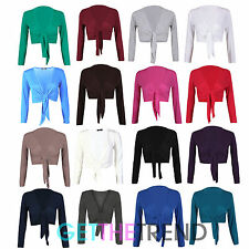 Womens New Plus Size Knot Tie Up Shrug Ladies Short Cropped Bolerot Top 8-16
