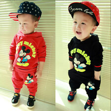 2015 Boy Mickey Mouse Velvet Hoodies Pants Kids Baby Outfit Children Clothes set