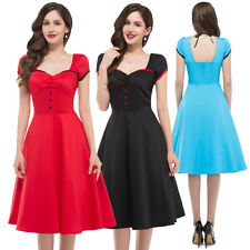 Clearance Vintage 50s Style Rockabilly Retro Swing Pinup Housewife Evening Dress