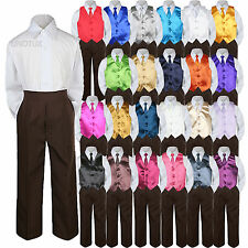 23 Color 4 Pieces Brown Set Vest Necktie Boy Baby Toddler Formal Tuxedo Suit S-7