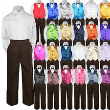 23 Color 4 Pieces Brown Set Vest Bow Tie Boy Baby Toddler Formal Tuxedo Suit S-7