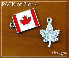 Canadian Flag & Maple Leaf charm set ~2 or 4pc~ Canada silver pendant bead