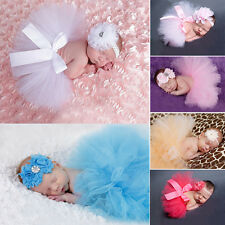 Baby Girls Newborn Head Flower Tutu Skirt Costume Infant Photo Photography Prop
