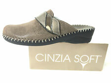CINZIA SOFT PANTOFOLA DONNA PELLE COLORE TORTORA ZEPPA CM 4 MADE IN ITALY