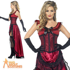 Ladies Western Authentic Brothel Babe Costume Red Fancy Dress Costume New