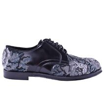 DOLCE & GABBANA RUNWAY Baroque Embroidery Shoes Black Grey 03897
