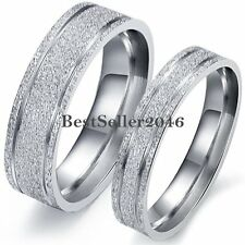 Stainless Steel Mens Womens Couples Frosted Silver Engagement Wedding Band Ring
