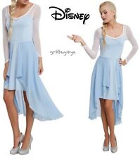 NWT DISNEY FROZEN QUEEN ELSA CHIFFON MESH SHEER LONG SLEEVE HI LOW DRESS USA