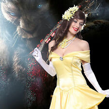 Ladies Sexy Strapless Princess Belle Beauty and Beast Fancy Dress Party Costume