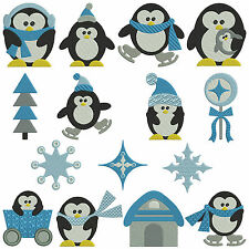 * PENGUINS * Machine Embroidery Patterns * 15 Designs, 2 Sizes
