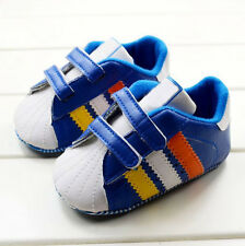 Fashion Baby boy blue soft  Velcro soled Crib Shoes Size 0-6 6-12 12-18 months