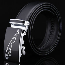 Luxury Mens Automatic Genuine Leather Belt Black Alloy Buckle High Quality