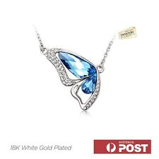 18K White GP Butterfly Swarovski Crystal Pendant Necklace Blue Purple Golden