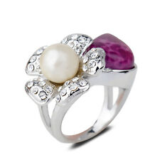 18K White Gold Plated Purple Jade Pearl Flower Finger Ring Jewelry CZ Rhinestone