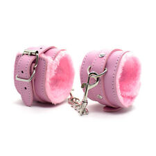 PU Leather & Soft Fur Wrist Hands Ankle Cuffs Fetish Restraint Bondage Kit Pink
