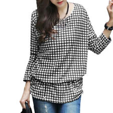 Women Long Sleeve Pullover Ruched Sides Detail Printed Knitted Tunic Top