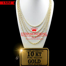 10K AUTHENTIC YELLOW GOLD DIAMOND CUT HALLOW ROPE CHAIN NECKLACE 3MM 18''~24''
