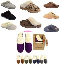 New Womens Fur Lined Top Slippers Ladies Mules Non Slip Rubber Sole Jyoti Libby
