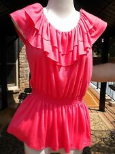 Coolwear Junior Coral Ruffled Scoop Neck Sleeveless Blouse S M L XL
