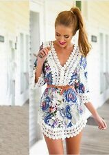 2015 New Women's Summer Sexy Lace Floral Casual Short Evening Party Mini Dress