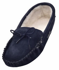 Lambland Mens Sheepskin Suede Moccasin Slippers with Soft Suede Sole - Navy Blue