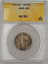 1929 US Standing Liberty Silver Quarter Coin 25c ANACS AU-55