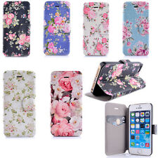 Rose Flower Magnetic Flip Wallet PU Leather Stand Case Cover For iPhone 5 5s 5c