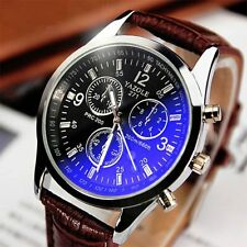 Luxury Men's Date Leather Stainless Steel Military Sport Quartz Wrist Watch