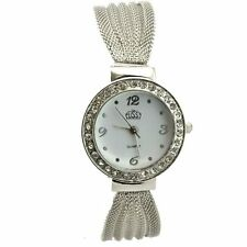 New Women Stainless Steel Crystal Bangle Bracelet Dial Quartz Analog Wrist Watch